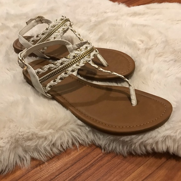 White and Gold Gladiator Y-Strap Thong Sandals